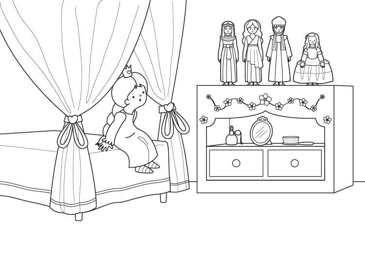 Muñecas de princesas: dibujo para colorear e imprimir