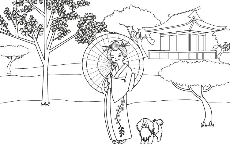Niños Para Colorear E Imprimir: Princesa Japonesa: Dibujo Para Colorear E Imprimir