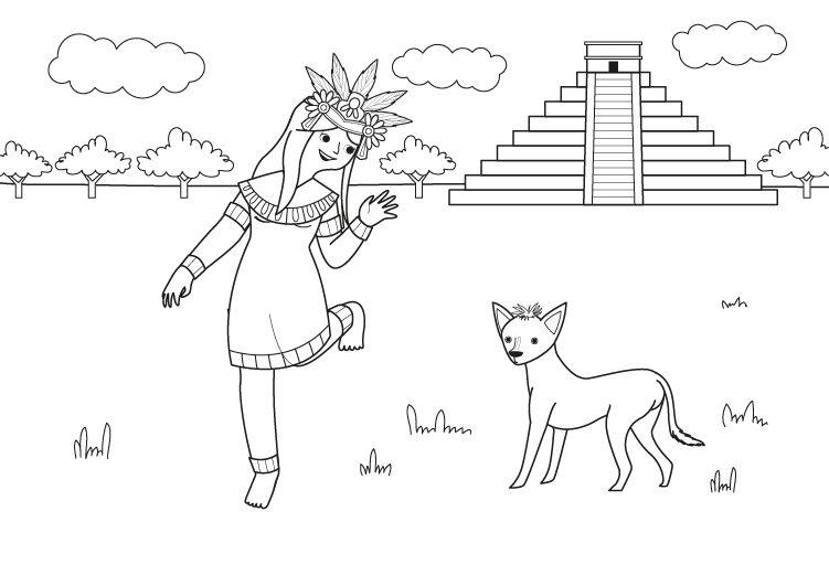 Culturas Del Mundo Para Colorear: Princesa Azteca: Dibujo Para Colorear E Imprimir