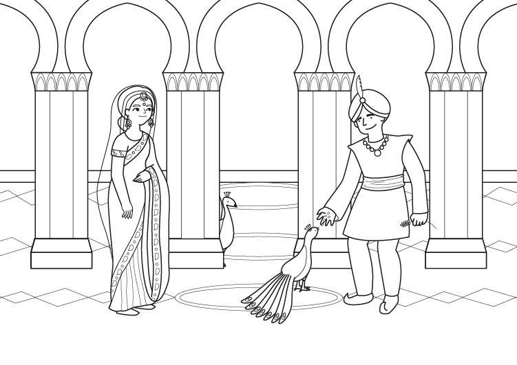 Princesa hindú: dibujo para colorear e imprimir