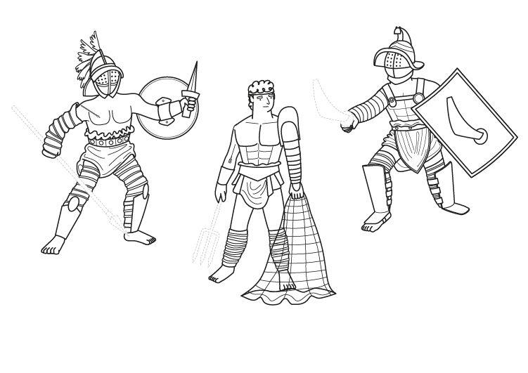 Gladiadores: dibujo para colorear e imprimir