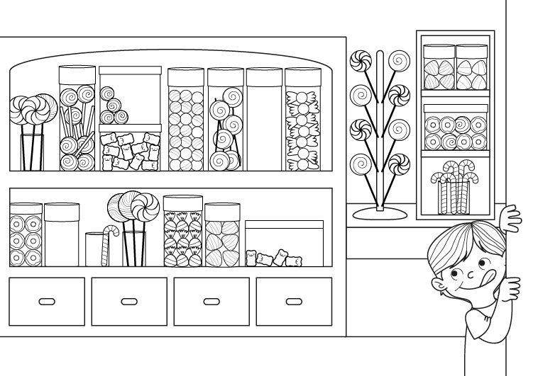 Dibujos Sobre La Escuela Para Colorear E Imprimir: Tienda De Golosinas: Dibujo Para Colorear E Imprimir