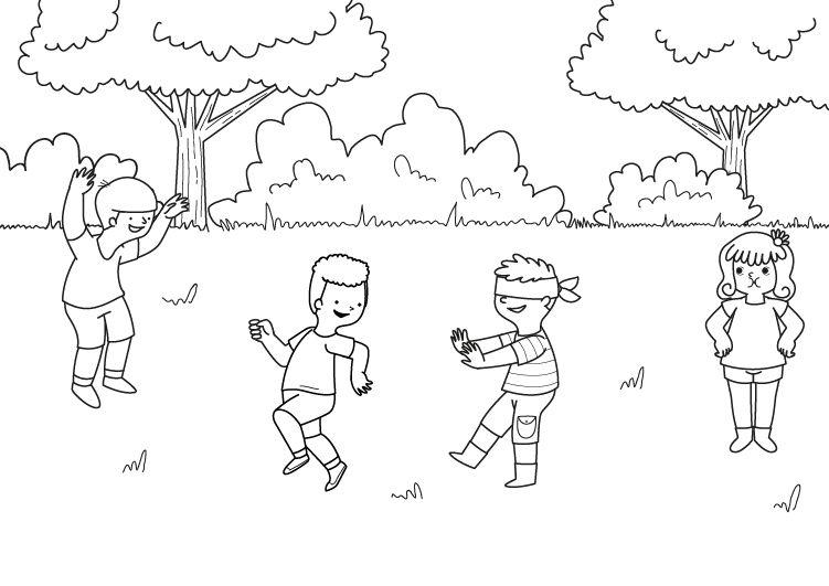 Láminas Para Colorear Juegos Tradicionales: Gallinita Ciega: Dibujo Para Colorear E Imprimir
