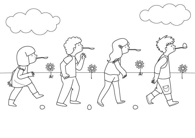 Carrera de cucharas: dibujo para colorear e imprimir