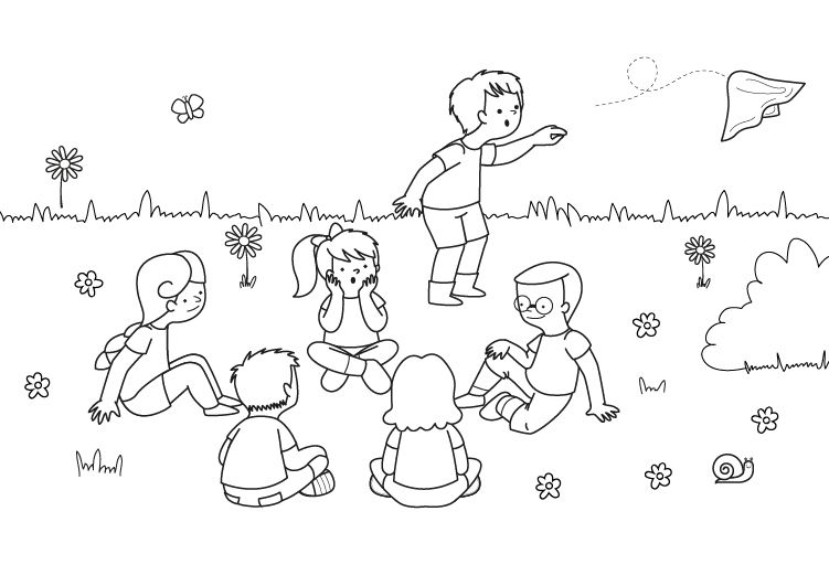 Láminas Para Colorear Juegos Tradicionales: Juego Del Pañuelo: Dibujo Para Colorear E Imprimir