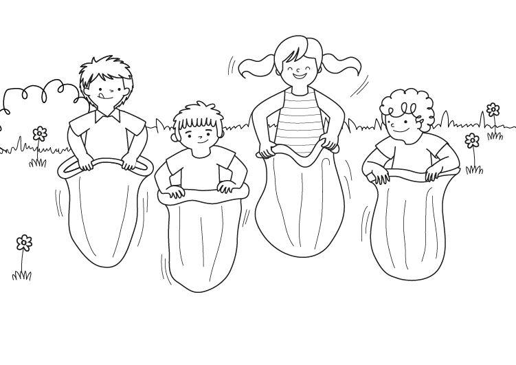 Carrera de sacos: dibujo para colorear e imprimir