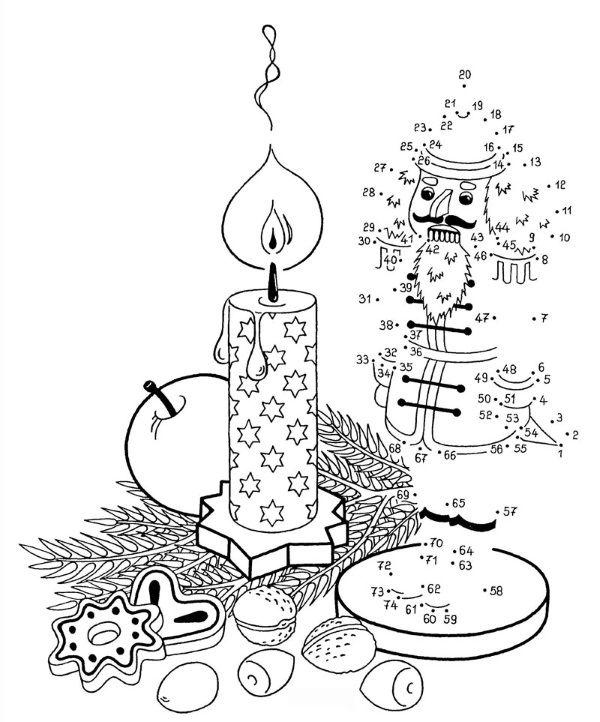 Dibujo de unir puntos de un cascanueces: dibujo para colorear e imprimir