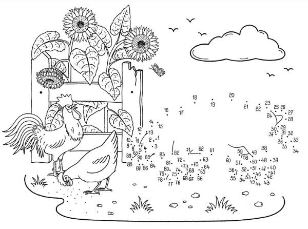 Dibujo de unir puntos de gallinas y cerdo: dibujo para colorear e imprimir