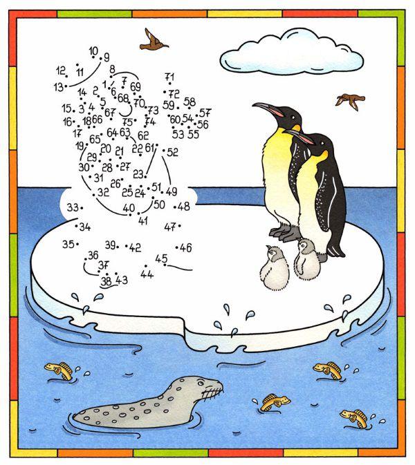 Imprimir: Dibujo de unir puntos de pingüinos en color ...