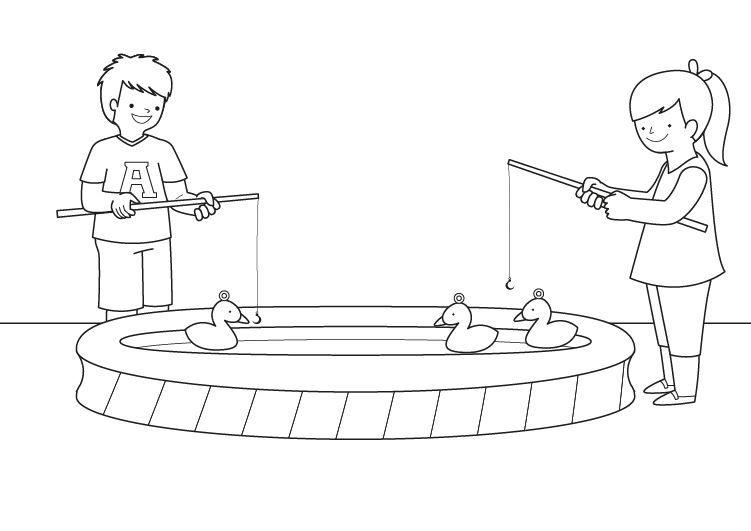 Juego de pesca: dibujo para colorear e imprimir