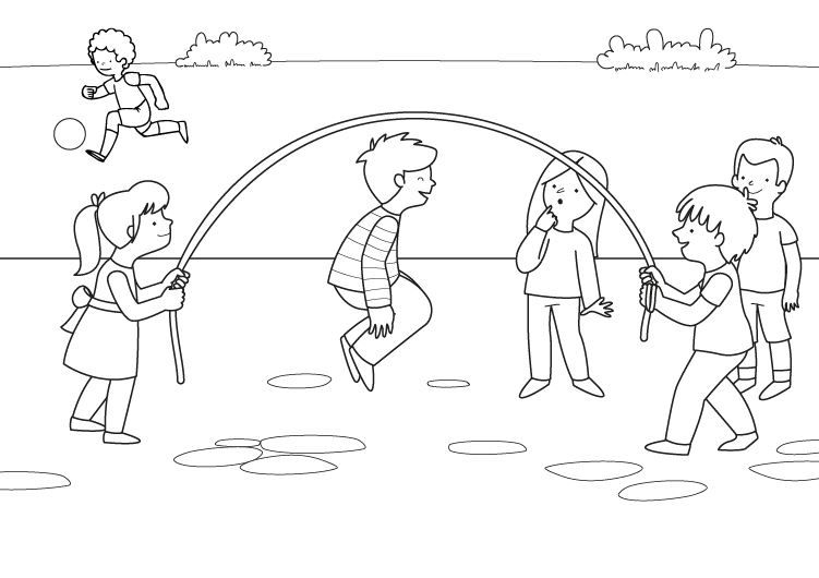 Saltar a la comba: dibujo para colorear e imprimir