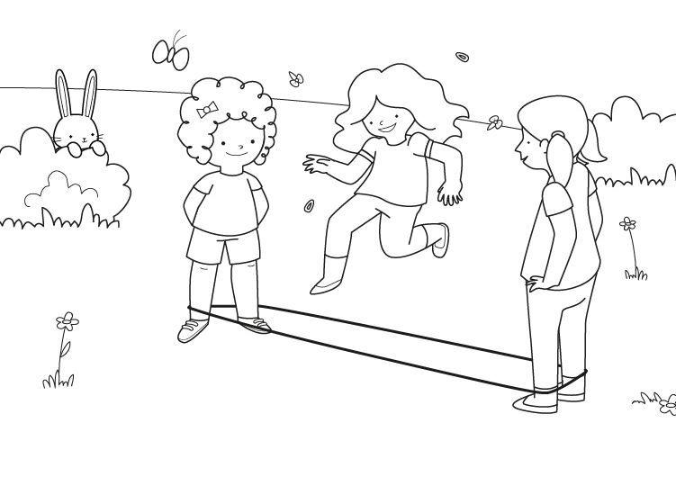 Saltar a la goma: dibujo para colorear e imprimir