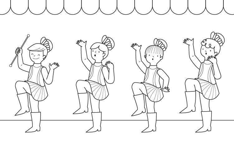 Majorettes: dibujo para colorear e imprimir