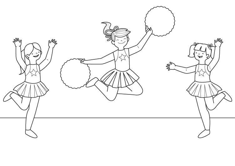 Animadoras: dibujo para colorear e imprimir