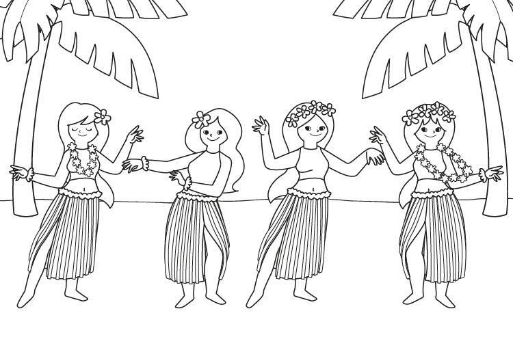 Dibujo De Chilena Para Colorear: Bailarinas Hawaianas: Dibujo Para Colorear E Imprimir