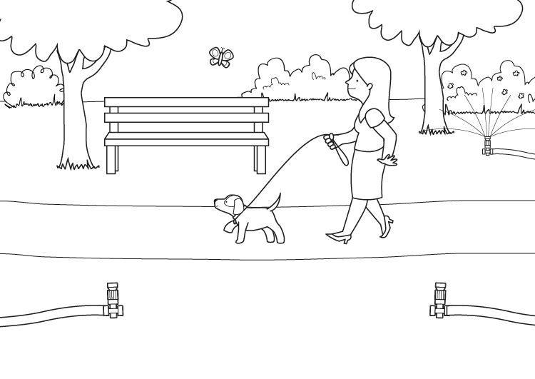 Aspersores en marcha: dibujo para colorear e imprimir
