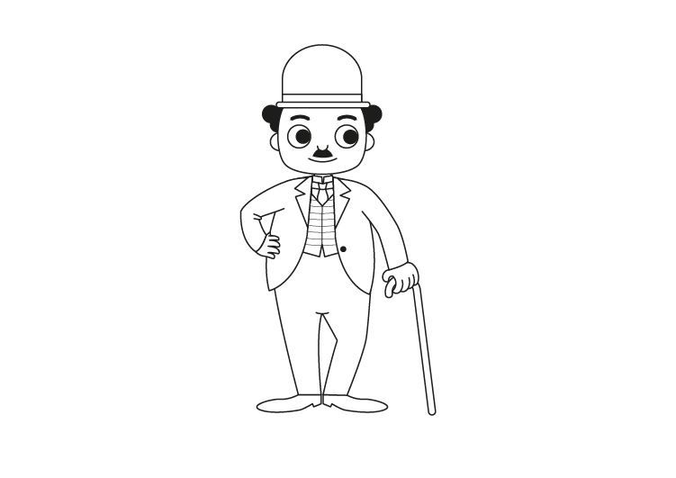 Charlot: dibujo para colorear e imprimir