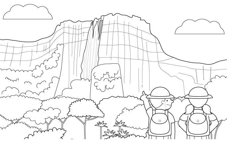 Gran cascada: dibujo para colorear e imprimir