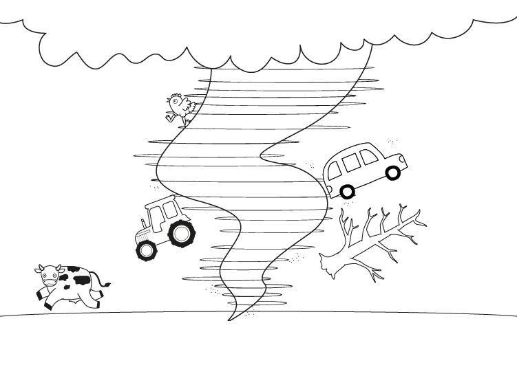 Tornado: dibujo para colorear e imprimir
