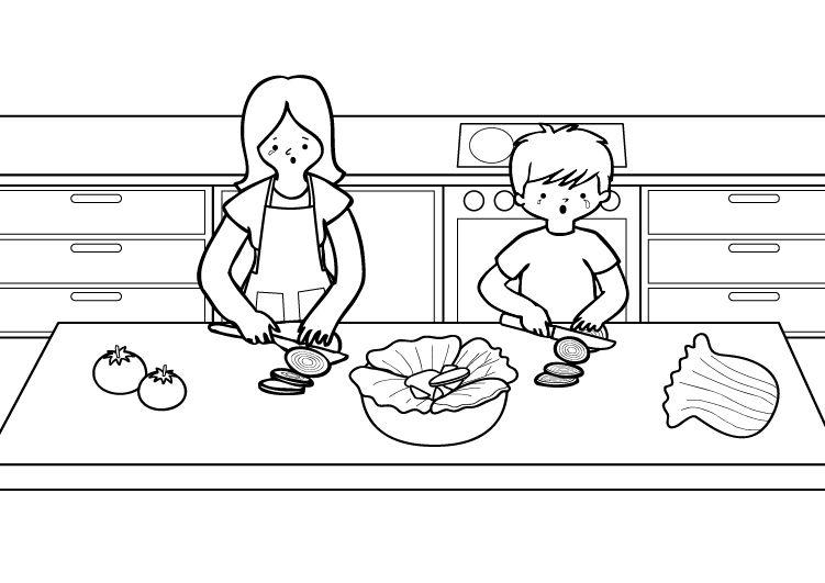 En al cocina: dibujo para colorear e imprimir