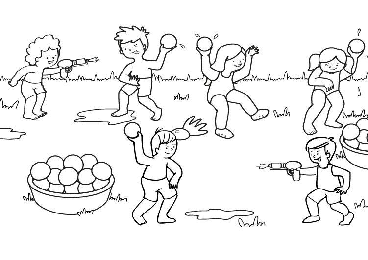 Batalla de agua: dibujo para colorear e imprimir