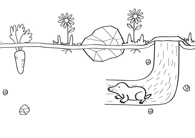 Topo bajo tierra: dibujo para colorear e imprimir
