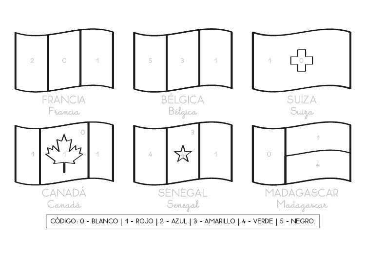 Banderas de países francófonos: dibujo para colorear e imprimir