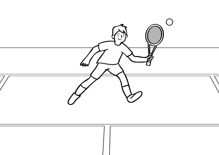 Tenis: dibujo para colorear e imprimir