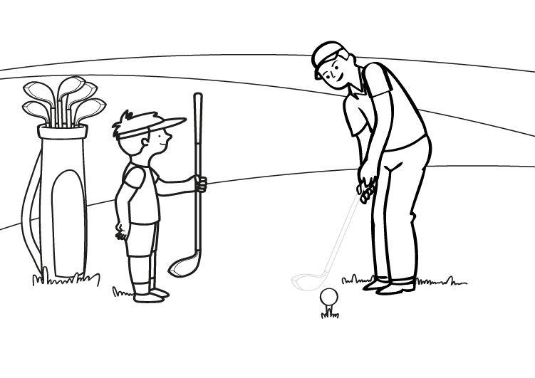 Dibujos Sobre La Escuela Para Colorear E Imprimir: Golf: Dibujo Para Colorear E Imprimir