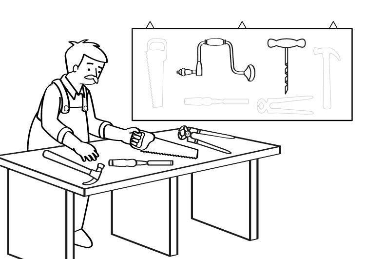 Carpintero: dibujo para colorear e imprimir