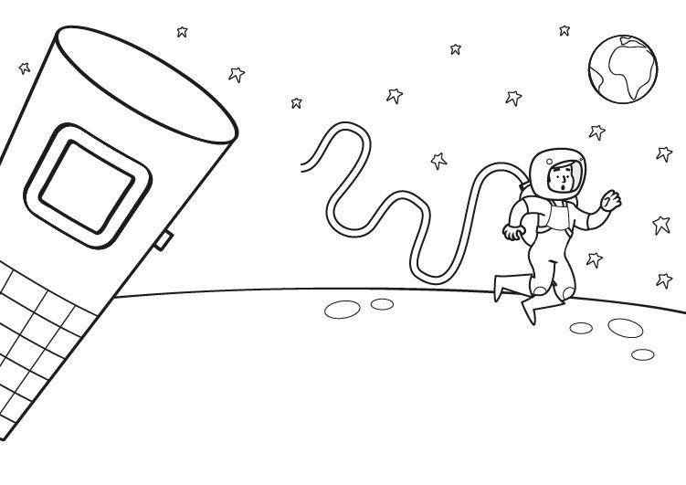 Cohete De Astronauta Y Vintage De Dibujos Animados: Astronauta: Dibujo Para Colorear E Imprimir