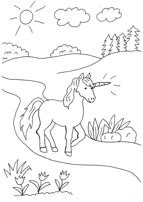 Unicornio caminando: dibujo para colorear e imprimir
