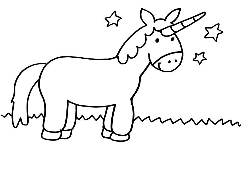 Unicornio bajo las estrellas: dibujo para colorear e imprimir