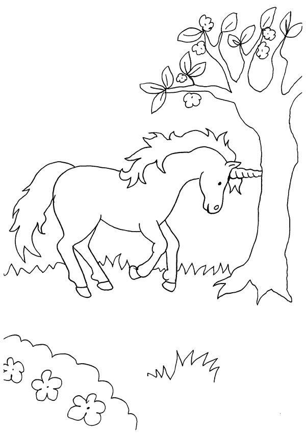Imprimir: Unicornio bajo el árbol: dibujo para colorear e imprimir