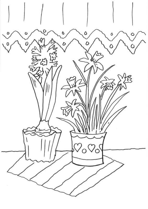 Narcisos y jacintos: dibujo para colorear e imprimir