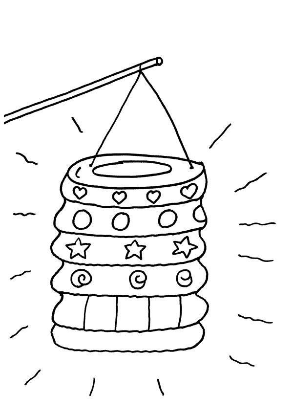 Linterna de papel: dibujo para colorear e imprimir