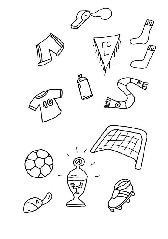 Equipamiento de fútbol: dibujo para colorear e imprimir