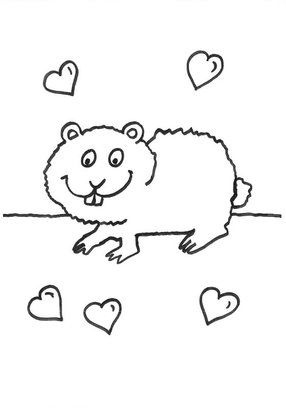 Conejo de india con corazones: dibujo para colorear e imprimir