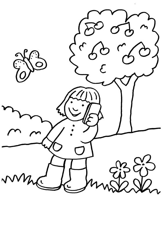 hablando por teléfono: dibujo para colorear e imprimir