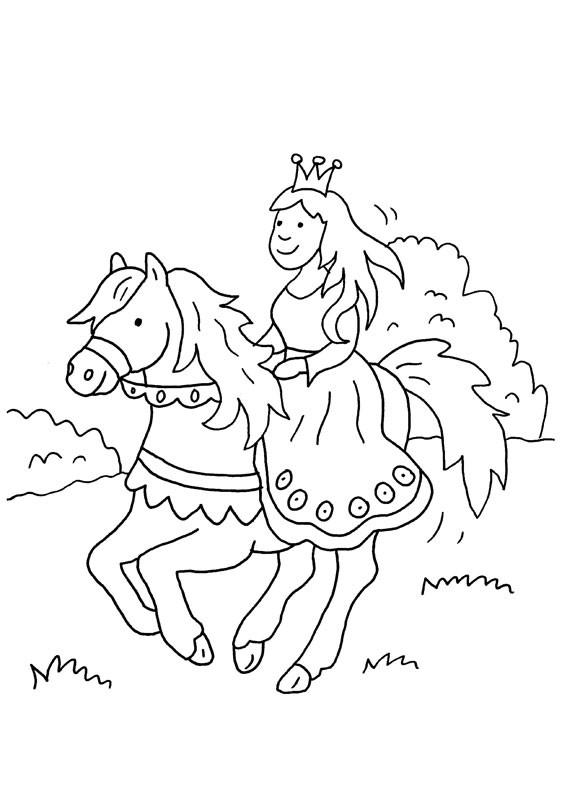 Princesa montando a caballo: dibujo para colorear e imprimir