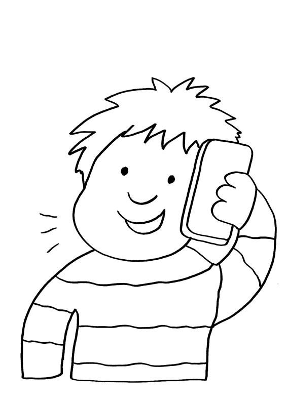 Niño Hablando Por Teléfono Dibujo Para Colorear E Imprimir