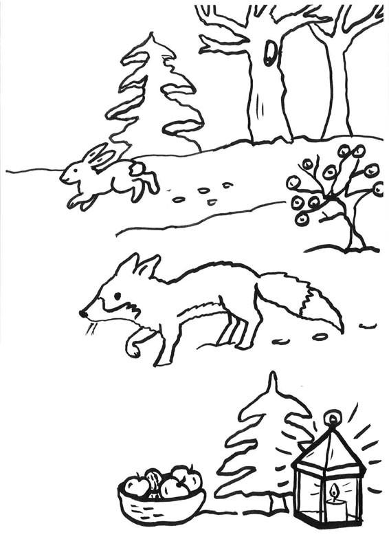 Carrera de zorro y conejo: dibujo para colorear e imprimir