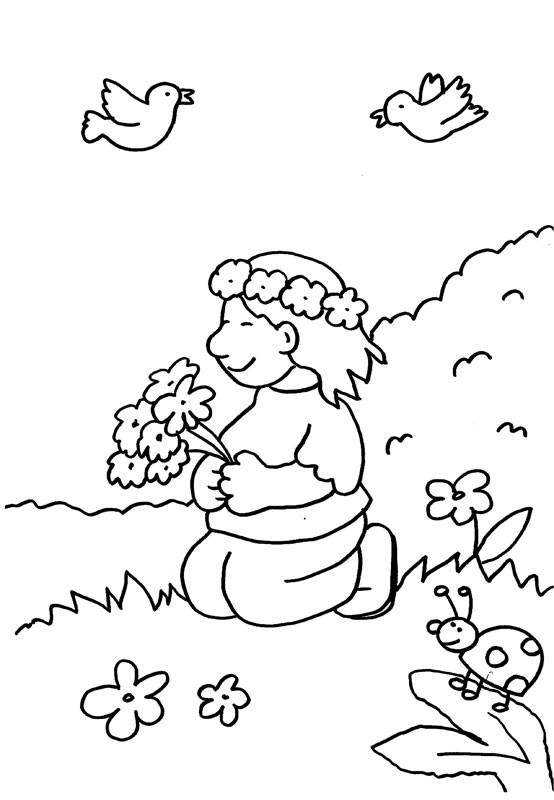 Niña con ramo y corona de flores: dibujo para colorear e imprimir