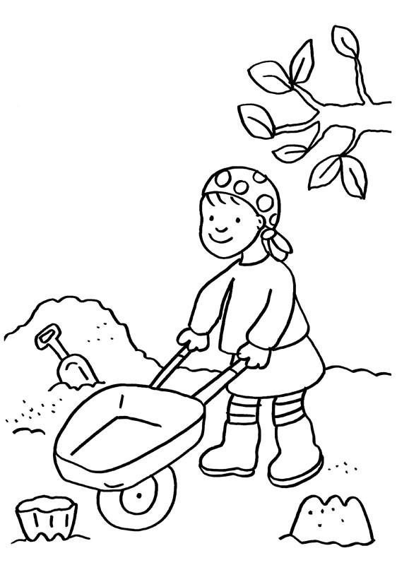Niña jugando en la arena: dibujo para colorear e imprimir