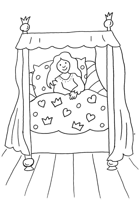 La cama de la princesa: dibujo para colorear e imprimir