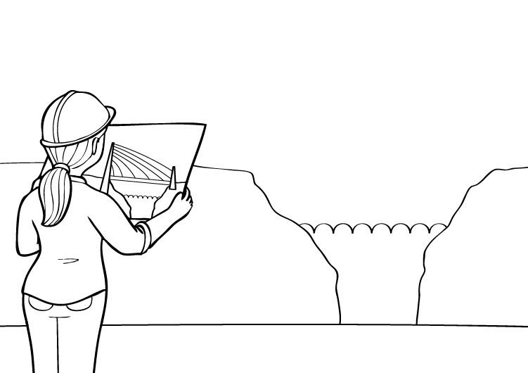 Arquitecta: dibujo para colorear e imprimir