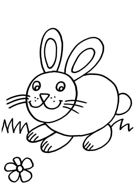 Conejo corriendo hacia una flor: dibujo para colorear e imprimir