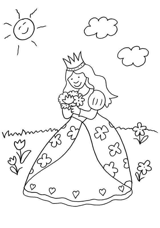Dibujo para colorear de princesa con flores