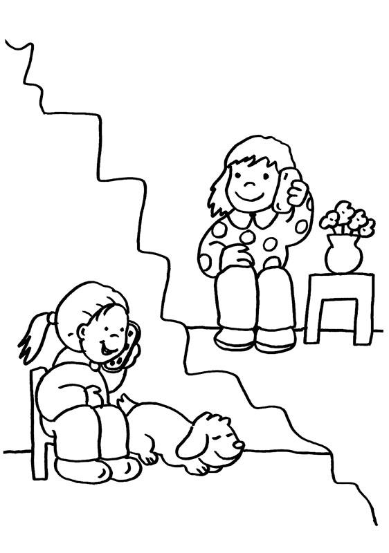 Dibujo para colorear de niñas hablando por teléfono