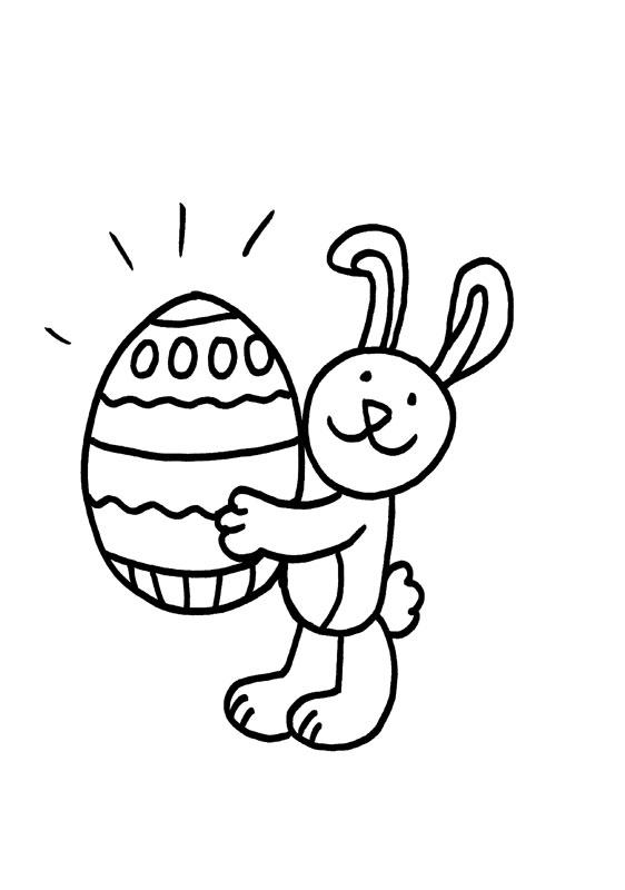 Dibujo para colorear de un conejo con un huevo de Pascua